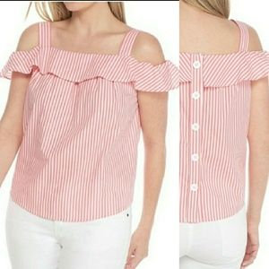 New crown & ivy cold shoulder ruffle top